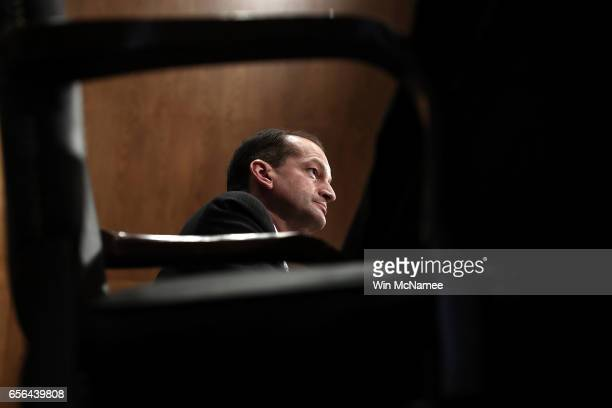 Labor Secretary nominee Alexander Acosta testifies before the Senate Health Education Labor and Pensions Committee during his confirmation hearing...