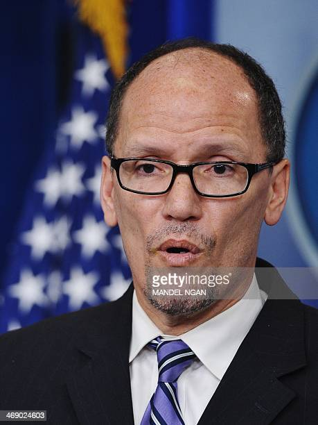 Labor Secretary Thomas Perez speaks to reporters about the minimum wage for federal contractors in the Brady Briefing Room of the White House on...