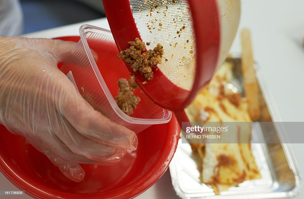 A laboratory assistant prepares a meat sample of lasagna for a DNA test at the veterinary research office Rhein-Ruhr-Wupper in Krefeld, western Germany on February 14, 2013. Several German supermarket chains have withdrawn their frozen lasagna last week as a precautionary measure in the scandal over horsemeat-tainted food.