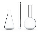 Laboratory Glassware.  Chemical Flasks on a white background. 3d Rendering.