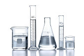 Laboratory glassware over reflective surface with white background