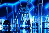 Set of different laboratory glassware