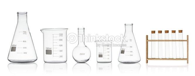 Laboratory glassware set isolated on white background : Stock Photo