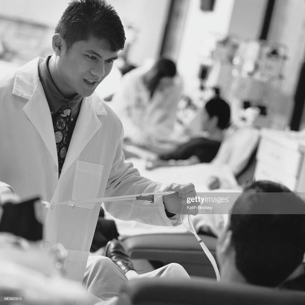 Laboratory Technician at Blood Bank : Stock Photo
