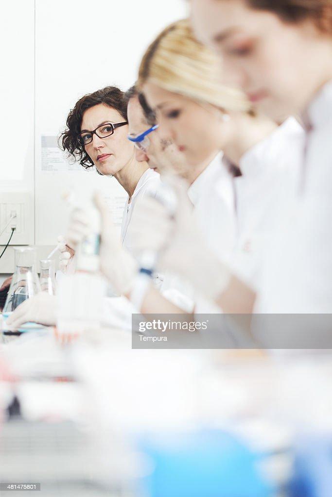 Laboratory technicians doing reserah work. : Stock Photo