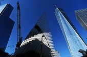 Laborers use a lift as they work at the transportation hub of the One World Trade Center in New York on October 17 2014 US spending on construction...