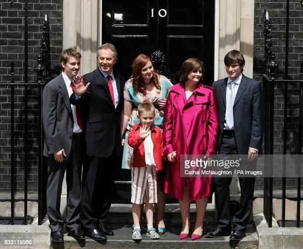 Labour 116 Prime Minister Tony Blair accompanied by his family Euan Kathryn Cherie Nicky Front row Leo pose on the steps of No10 as they leave...
