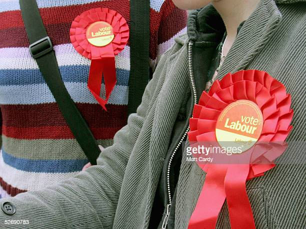 Labour activists canvas for candidate Valerie Davey talks to a voter in the marginal seat of Bristol West April 24 2005 in Bristol England The seat...