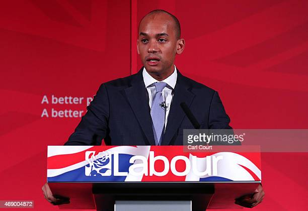 Labour Business Innovation and Skills spokesman Chuka Umunna speaks during the launch of his party's education manifesto on April 9 2015 in London...