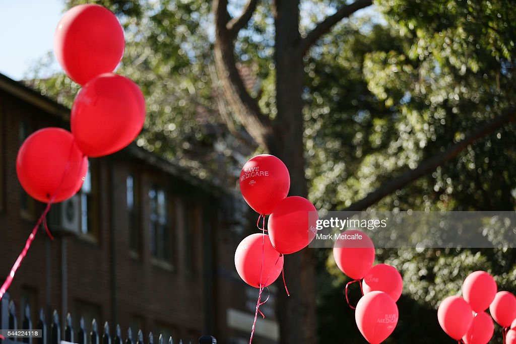 Labour campaign balloons are seen at Padstow Park Public School on July 2, 2016 in Sydney, Australia. Voters head to the polls today to elect the 45th parliament of Australia.Padstow Park Public School