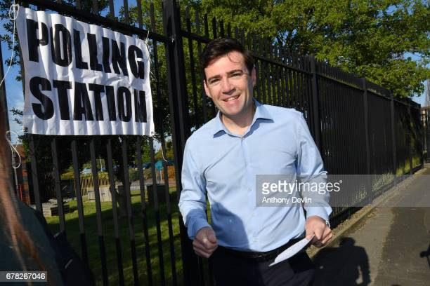 Labour Candidate for Mayor of Manchester Andy Burnham arrives to vote at the Goldborne Sure Start Children's centre in Goldborne on May 4 2017 in...