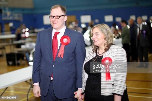 Labour candidate Gareth Snell and wife Sophia arrive at Fenton Sports Centre as votes are counted in the StokeOnTrent Central byelection on February...