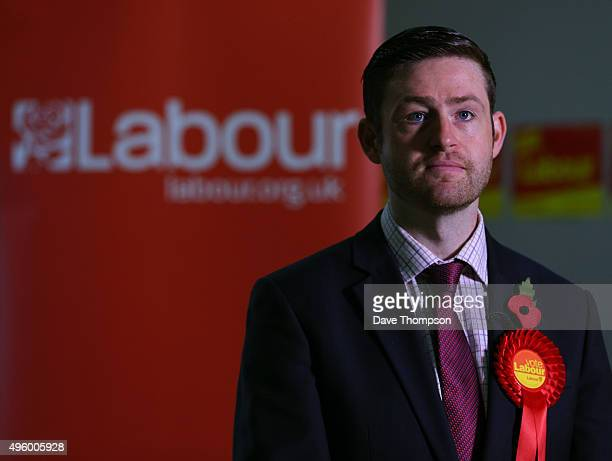 Labour candidate Jim McMahon gives a television interview during a launch event at the party's campaign centre on November 6 2015 in Oldham England A...