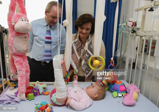 Labour candidate John O'Farrell campaigns with Cherie Blair as they visit Southampton General Hospital children's ward in the final day for...