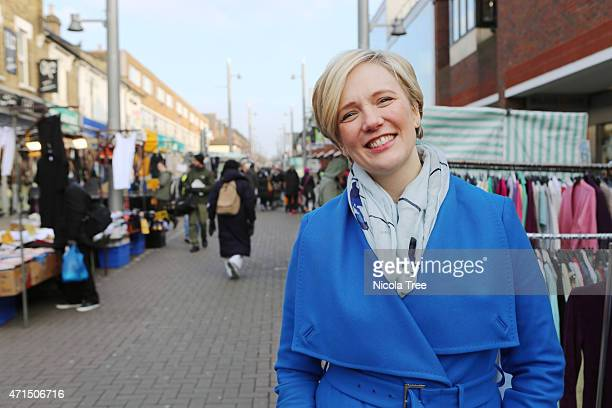Labour candidate Stella Creasy Campaign shots on Walthamstow high street with the market in the background on January 22nd 2015 Stella is campaigning...