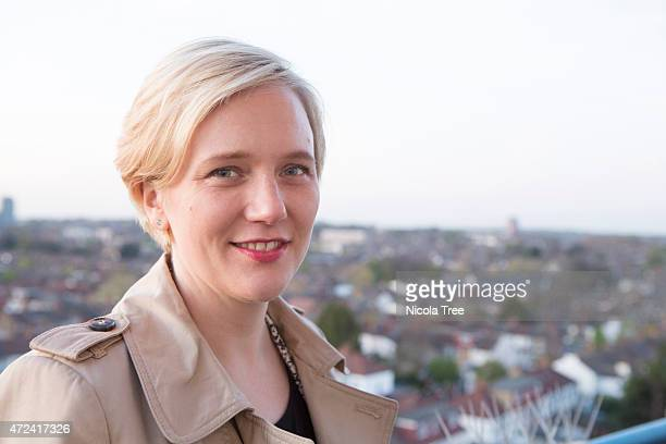 Labour candidate Stella Creasy poses at Raymar Tower Walthamstow while canvassing with Walthamstow in the background on April 21st 2015 Stella is...