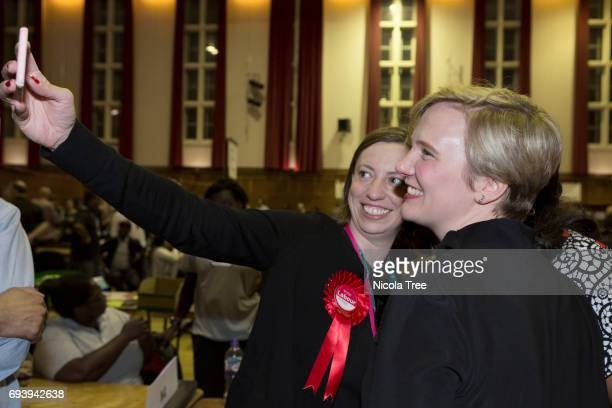Labour Candidate Stella Creasy takes a selfie after winning with a large majority at the Waltham Forest count on June 8 2017 in London England After...