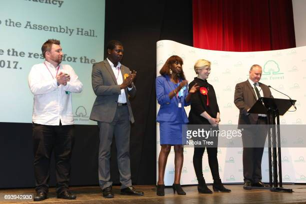 Labour Candidate Stella Creasy waits to speak after winning with a large majority at the Waltham Forest count on June 8 2017 in London England After...