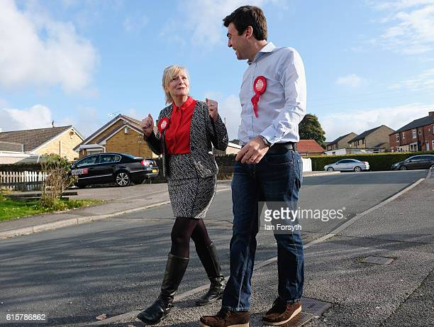 Labour candidate Tracy Brabin and Andy Burnham canvass in the Heckmondwike area of Batley as voting gets underway in the Batley and Spen byelection...
