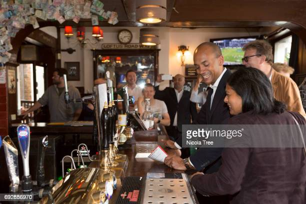 Labour candidates Chuka Umunna and Rupa Huq continue local campaigning in Ealing on June 4 2017 in London England National campaigning has been...