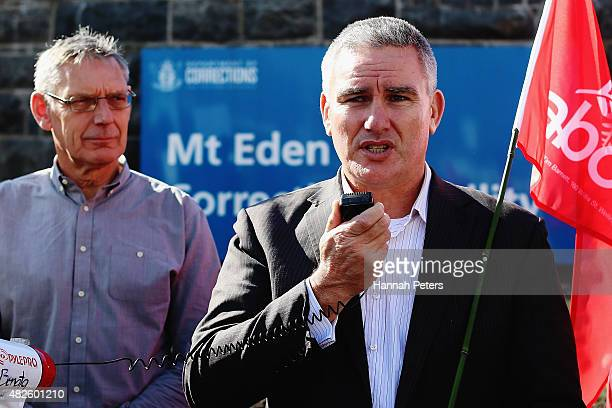 Labour Corrections Spokesperson Kelvin Davis addresses a rally at Mt Eden Prison on August 1 2015 in Auckland New Zealand Prison management company...