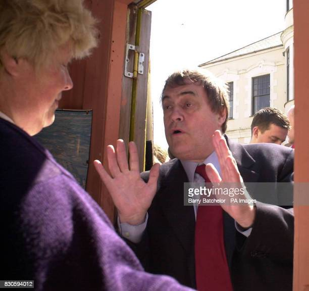 Labour Deputy Leader John Prescott talks with Sandra Pill in her pleasure boat ticket booth during his visit to Falmouth Cornwall The town is part of...