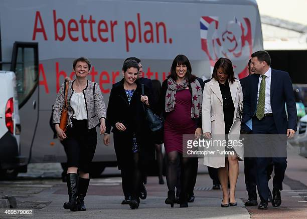Labour frontbenchers arrive for the party's launch of it's 2015 election manifesto at the Old Granada TV studios on April 13 2015 in Manchester...