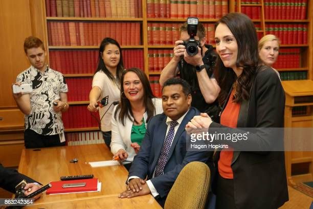 Labour leader and prime ministerelect Jacinda Ardern speaks to her MPs during a caucus meeting at Parliament on October 20 2017 in Wellington New...