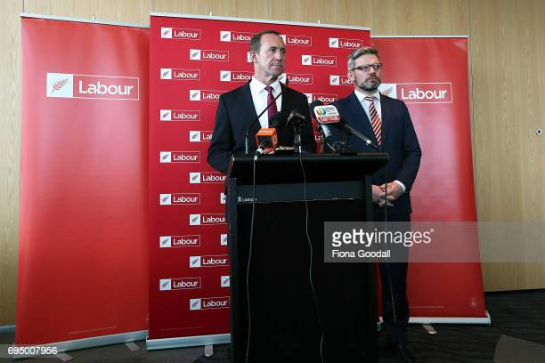 Labour leader Andrew Little and Immigration spokesman Iain LeesGalloway speak at the Labour Party Immigration Policy media briefing at ANZ Viaduct...