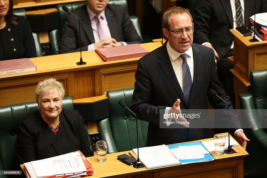 Labour leader Andrew Little delivers his response during the 2016 budget presentation at Parliament on May 26, 2016 in Wellington, New Zealand. English delivered his eighth budget which sees record investment in health and education and more support for businesses to create jobs on the back of a growing economy.