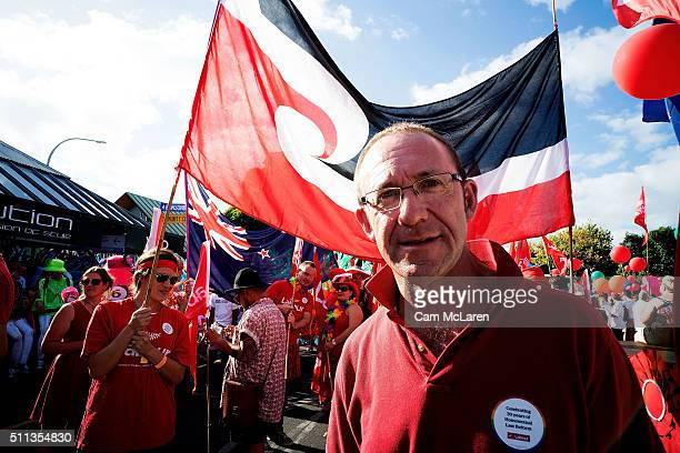 Labour leader Andrew Little joins the Auckland Pride Parade on February 20 2016 in Auckland New Zealand