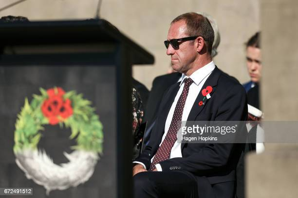 Labour leader Andrew Little looks on during the Anzac Day National Commemoration Service at Pukeahu National War Memorial Park on April 25 2017 in...