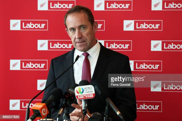 Labour leader Andrew Little speaks at the Labour Party Immigration Policy media briefing at ANZ Viaduct Events Centre on June 12 2017 in Auckland New...