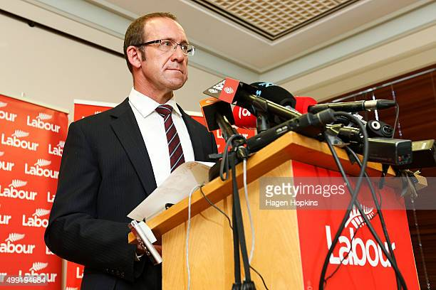 Labour Leader Andrew Little speaks during a press conference to announce a new Shadow Cabinet on November 30 2015 in Wellington New Zealand The new...