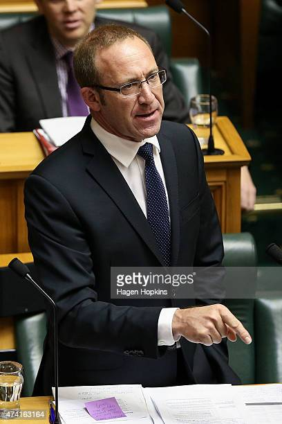 Labour leader Andrew Little speaks during the 2015 budget presentation at Parliament House on May 21 2015 in Wellington New Zealand English announced...