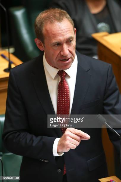 Labour leader Andrew Little speaks during the 2017 budget presentation at Parliament on May 25 2017 in Wellington New Zealand Finance Minister Steven...