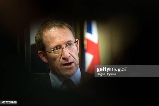 Labour Leader Andrew Little speaks to media during a press conference at Parliament on December 5 2016 in Wellington New Zealand Prime Minister John...