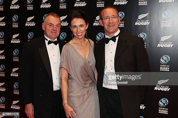 Labour leader Andrew Little with Jacinda Ardern and Trevor Mallard attend the ASB Rugby Awards at SkyCity Convention Centre on December 15 2016 in...