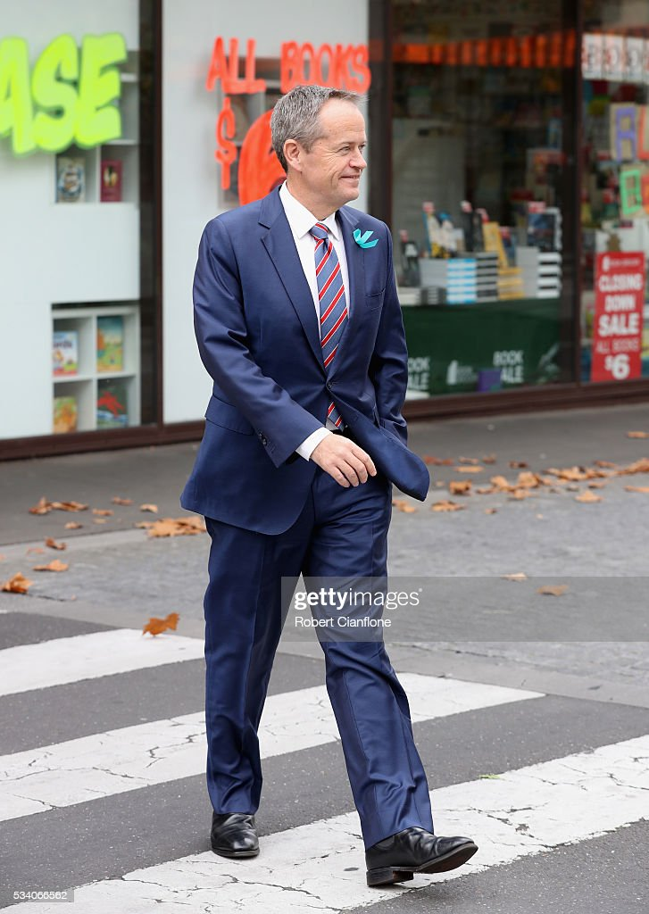 Labour leader <a gi-track='captionPersonalityLinkClicked' href=/galleries/search?phrase=Bill+Shorten&family=editorial&specificpeople=606712 ng-click='$event.stopPropagation()'>Bill Shorten</a> is seen as he arrives for a street walk on May 25, 2016 in Melbourne, Australia. A Queensland bank has threatened legal action over Mr Shorten's 'putting people first' campaign slogan, which they believe gives people the impression the bank is affiliated with the Labor party.