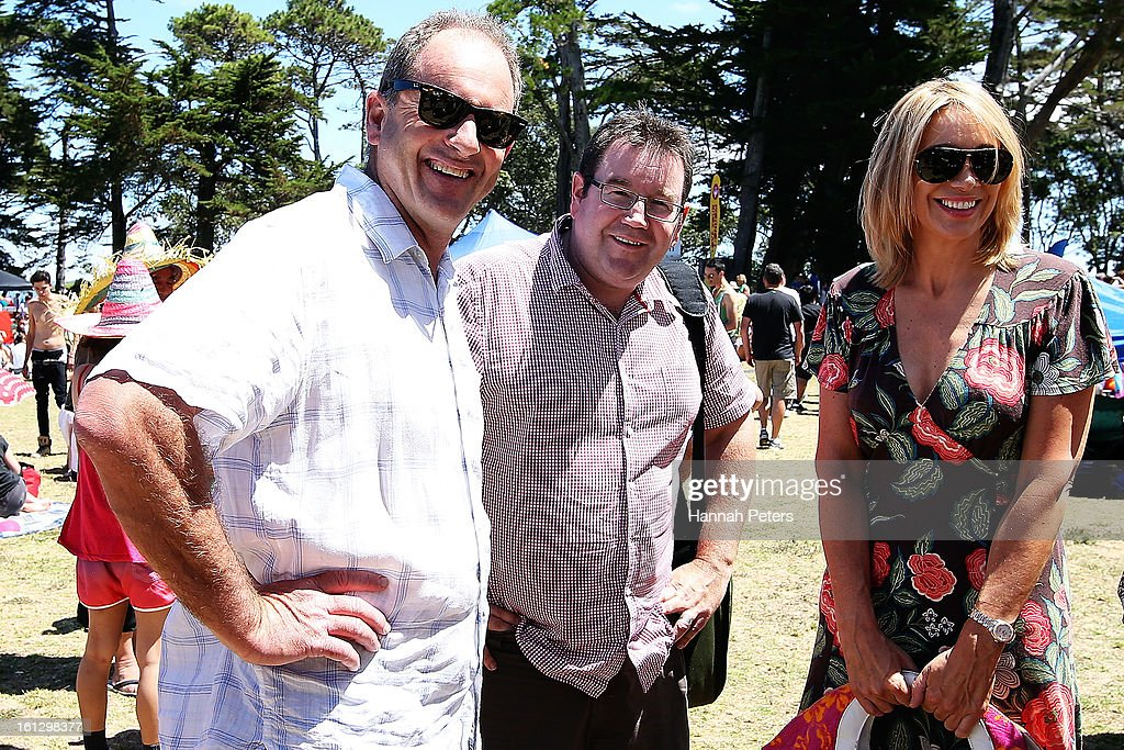 Labour leader David Shearer and Grant Robertson meet TVNZ presenter Alison Mau at the Big Gay Out at Coyle Park on February 10, 2013 in Auckland, New Zealand. Big Gay Out is the largest annual gay and lesbian festival in New Zealand.