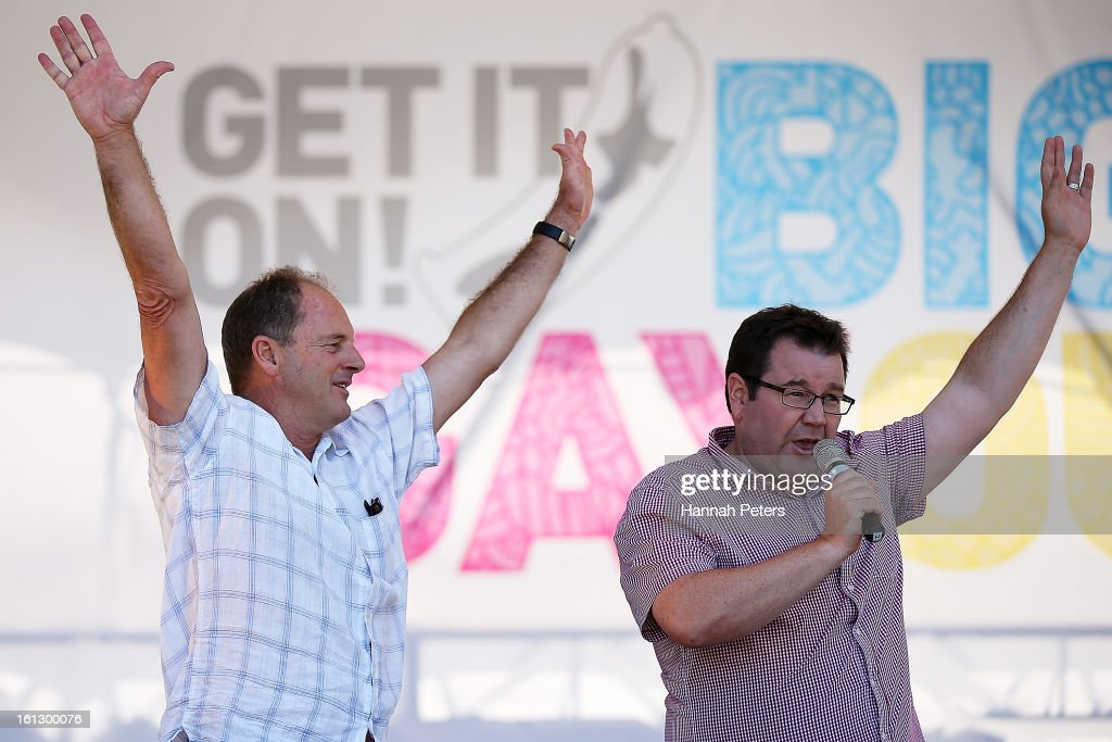 Labour leader David Shearer and member of parliment Grant Robertson speak to the crowd at the Big Gay Out at Coyle Park on February 10, 2013 in Auckland, New Zealand. Big Gay Out is the largest annual gay and lesbian festival in New Zealand.