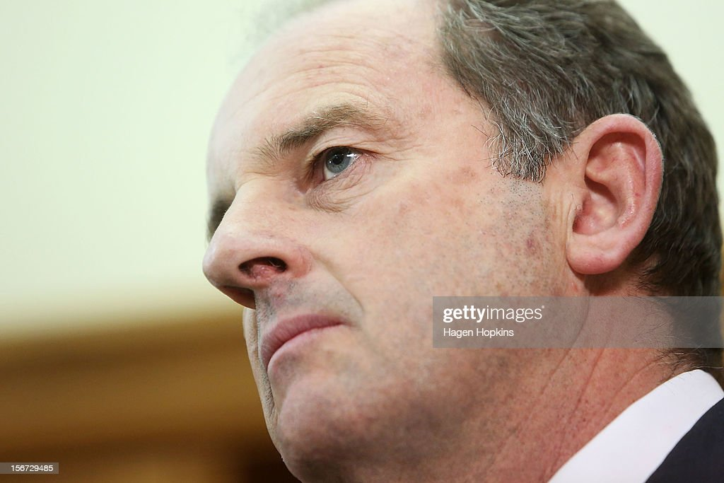 Labour leader David Shearer speaks to media during a press conference at Parliament on November 20, 2012 in Wellington, New Zealand. David Shearer announced that Labour MP David Cunliffe would be demoted from the front bench to the unranked section of the caucus after speculation of a leadership challenge.