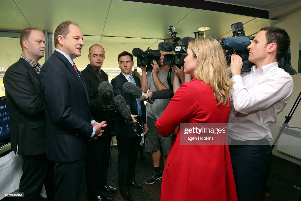 Labour leader David Shearer talks to media after unveiling a departures sign counting the number of New Zealanders who have left to live in Australia since 2008 at Westpac Stadium on December 6, 2012 in Wellington, New Zealand. According to Labour's calculations, today will see the 50,000th New Zealander this year board a plane with a one-way ticket for a new life in Australia.