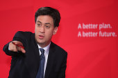 Labour Leader Ed Miliband addresses activists as he launches the party's health manifesto at The Guiseley Theatre on April 11 2015 in Leeds England...