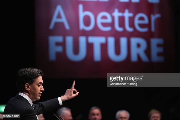 Labour leader Ed Miliband addresses supporters during the party's launch of it's 2015 election manifesto at the Old Granada TV studios on April 13...