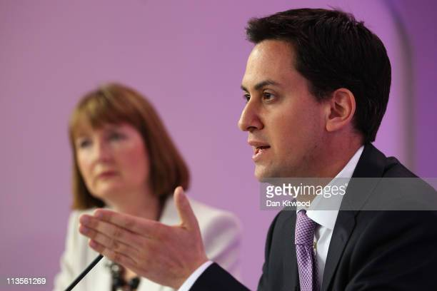 Labour leader Ed Miliband and Deputy Labour leader Harriet Harman hold their weekly press conference at Labour head quarters on May 3 2011 in London...