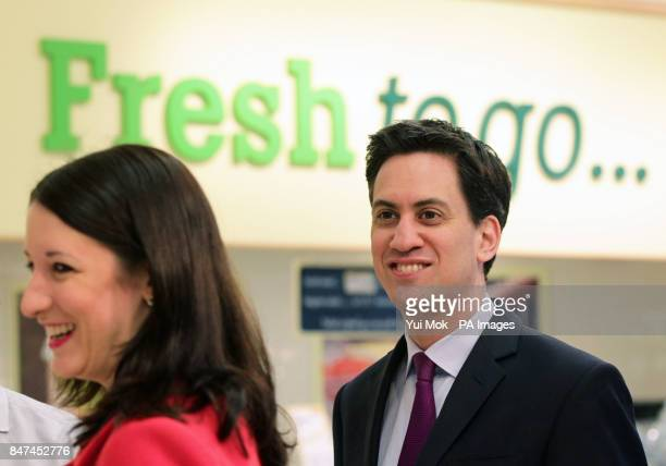 Labour leader Ed Miliband and Rachel Reeves shadow chief secretary of the Treasury during a visit to Morrisons Supermarket in Camden London