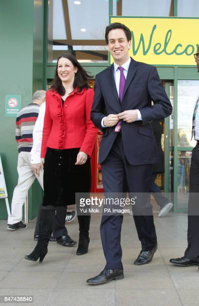Labour leader Ed Miliband and Shadow Chief Secretary to the Treasury Rachel Reeves during a visit to Morrisons supermarket in Camden north London
