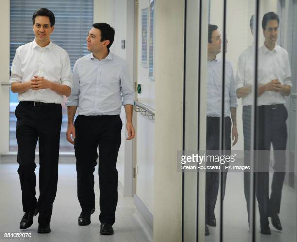 Labour leader Ed Miliband and shadow health secretary Andy Burnham during a visit to meet patients at the Macmillan Cancer Centre London including...
