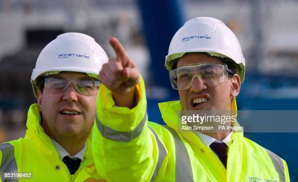 Labour leader Ed Miliband and Thomas Docherty during a visit to the Rosyth Dockyard Dunfermline